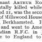 Press clipping– This casualty notice appeared in the January 31, 1918 issue of Flight, the journal of the Royal Aero Club of the United Kingdom.