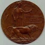 Memorial plaque– Goldwin Pirie's Bronze Memorial Medal.  Issued to next-of-kin.