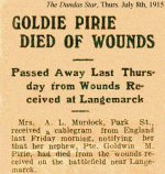 Newspaper clipping– Article published in The Dundas Star newspaper on July 8th, 1915.