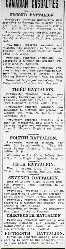 Newspaper clipping– Charles was missing in 1915. In memory of the men and women of London, Ontario (and area) who went to war and did not come home. Remembered on the pages of the World War One issues of the London Advertiser. Submitted for the project Operation Picture Me