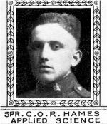 Photo of Clifford Hames– From: The Varsity Magazine Supplement Fourth Edition 1918 published by The Students Administrative Council, University of Toronto.   Submitted for the Soldiers' Tower Committee, University of Toronto, by Operation Picture Me.