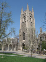 """The Soldiers' Tower– The Soldiers' Tower was built at University of Toronto between 1919-1924 in memory of those lost to the University in the Great War. The name of """"2nd Lt. C. R. Hames R.A.F."""" is among the 628 names carved on the Memorial Screen, which can be seen at photo left. Photo: K. Parks, Alumni Relations."""