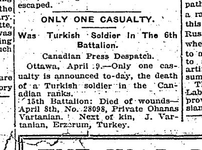 Newspaper Clipping– Casualty Notice for Pte. Ohanas Vartanian.  Toronto Star - 09 April 1915