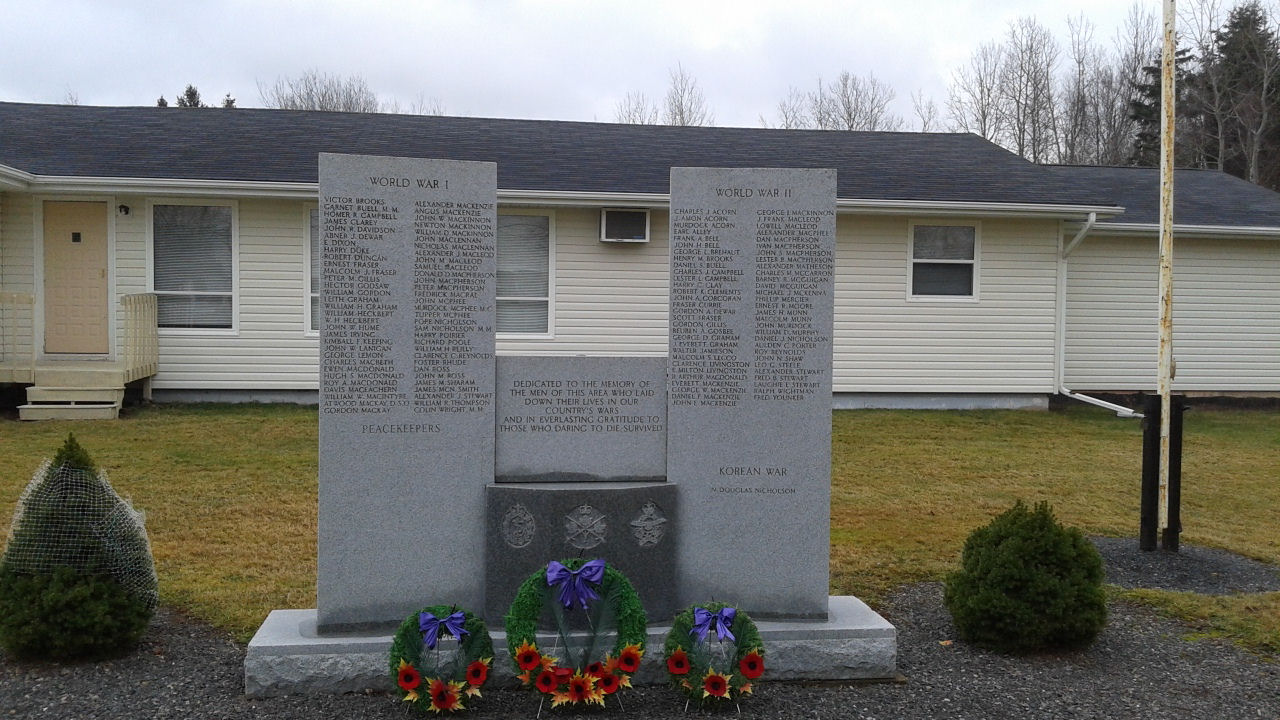 War Memorial in Montague, Prince Edward Island– Erected by the Royal Canadian Legion, this memorial is dedicated to the local veterans of the First and Second World Wars and the Korean War.