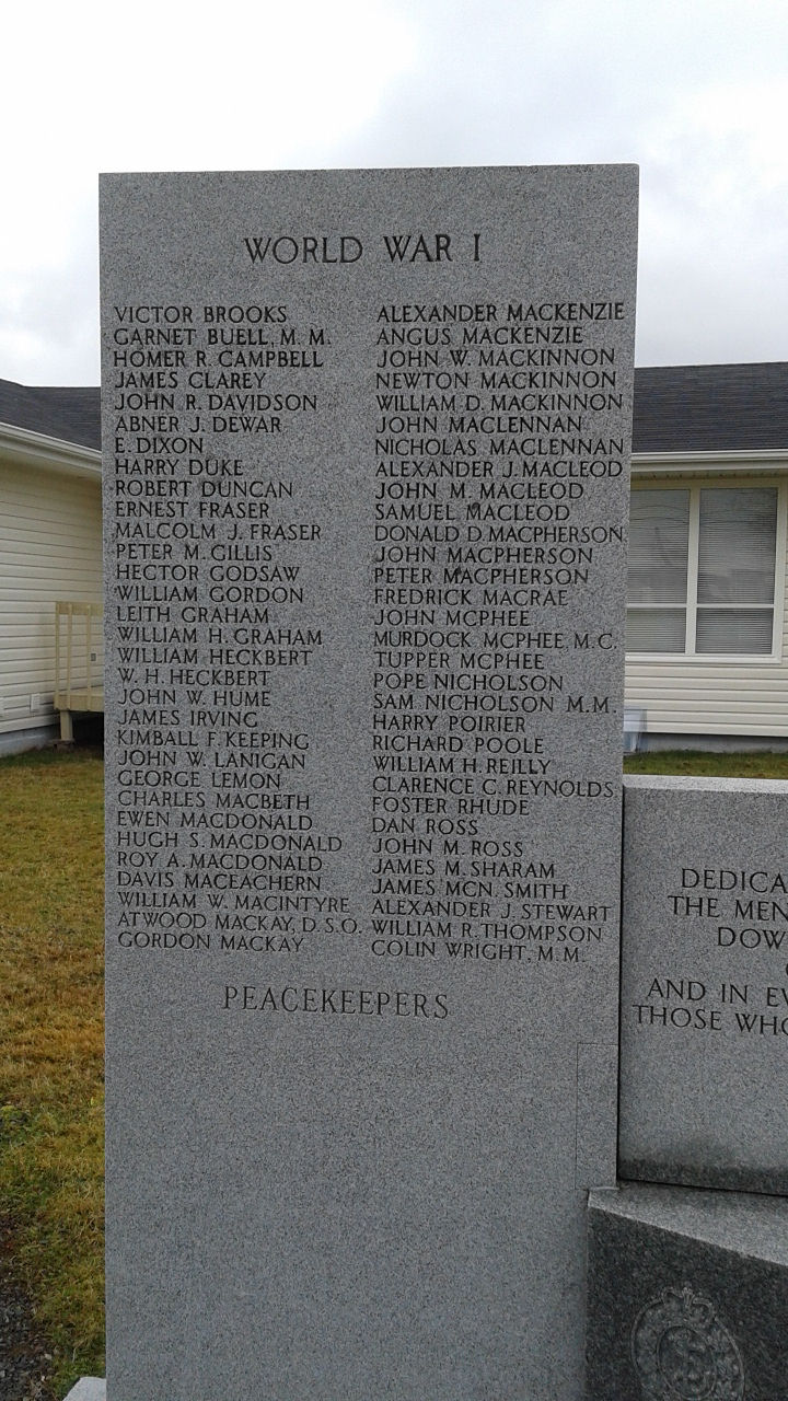 Inscription– Erected by the Royal Canadian Legion, this memorial is dedicated to the local veterans of the First and Second World Wars and the Korean War.