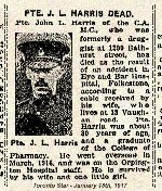 Newspaper Clipping– Pte. John Lindsay Harris was born in Jarvis, Ontario.  He enlisted in Toronto on February 4th, 1916.