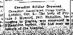 Newspaper Clipping– From the Toronto Star for 2 October 1915.