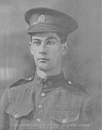 Photo of Valentine Christopher Wilman– Private Valentine Christopher Wilman, 37th Battalion, Canadian Expeditionary Forces. Died April 2, 1916. Age 24. Buried in Shorncliffe Cemetery, Kent, England