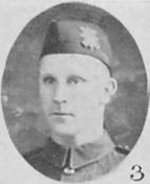 """Photo of George Newton– Photo taken from """"A Short History and Photographic Record of the 73rd Battalion, Canadian Expeditionary Force, Royal Highlanders of Canada"""" Page 44.  'E' Company."""