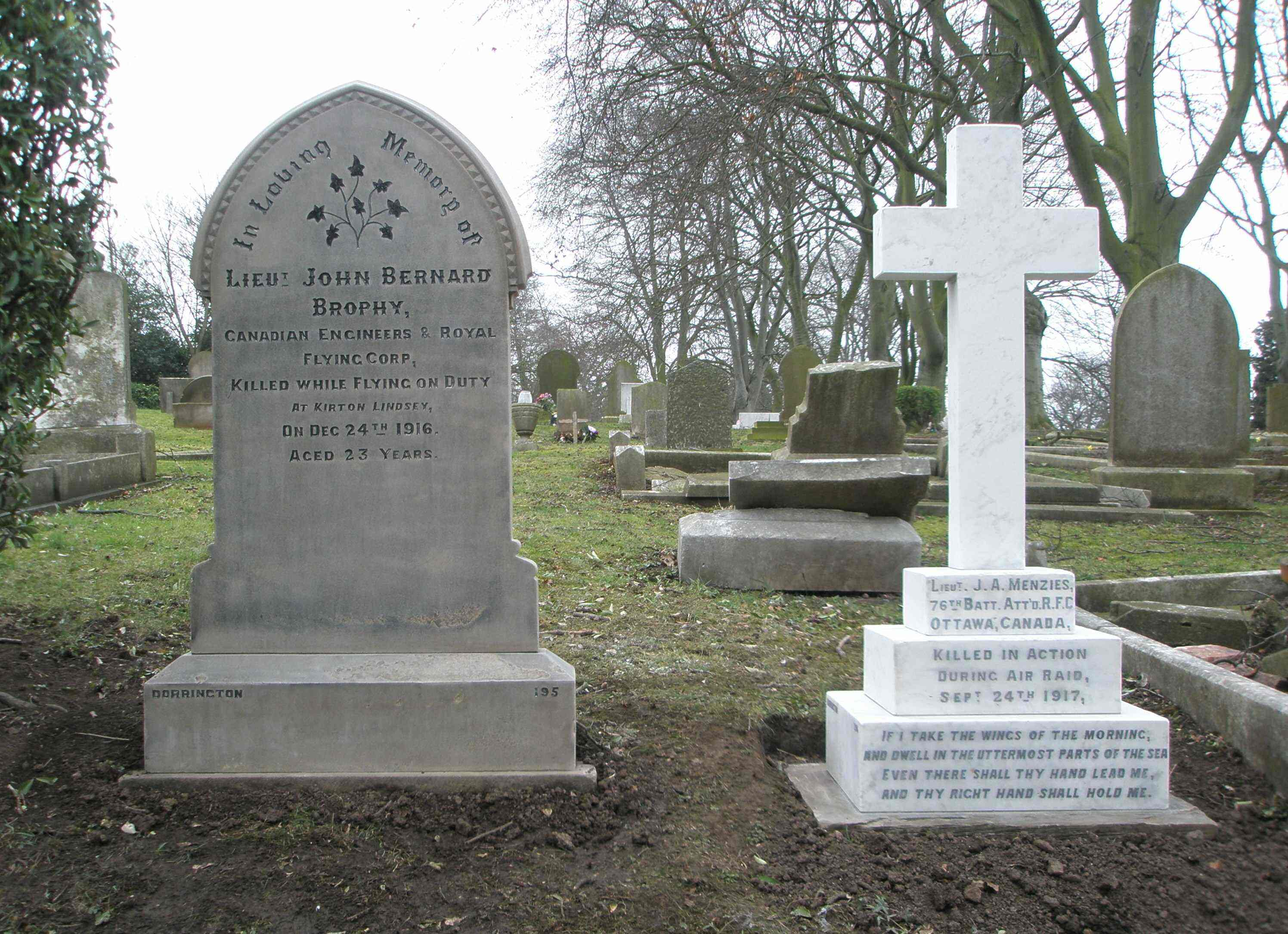"Grave Marker– The restored headstones of Canadian RFC officers Lt. John Bernard ""Don"" Brophy and Lt. James Arthur Menzies. Restored by Trent Valley Academy and the Friends of Gainsborough Cemeteries in 2011."