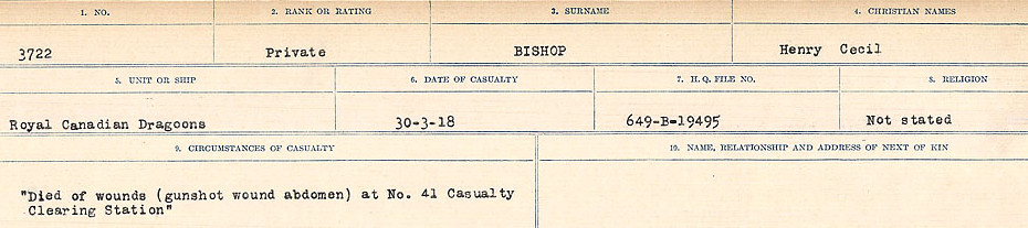 Circumstances of Death Registers– Source: Library and Archives Canada.  CIRCUMSTANCES OF DEATH REGISTERS FIRST WORLD WAR Surnames: Birch to Blakstad. Mircoform Sequence 10; Volume Number 31829_B034746; Reference RG150, 1992-93/314, 154 Page 215 of 734