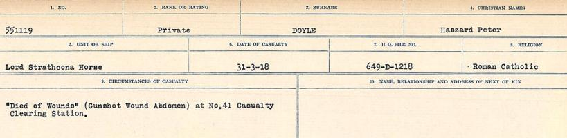 Circumstances of death registers– Source: Library and Archives Canada. CIRCUMSTANCES OF DEATH REGISTERS, FIRST WORLD WAR. Surnames: Don to Drzewiecki. Microform Sequence 29; Volume Number 31829_B016738. Reference RG150, 1992-93/314, 173. Page 767 of 1076.
