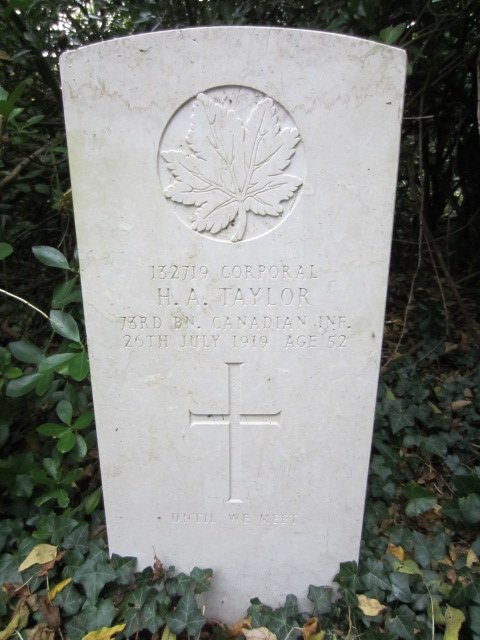 Grave Marker– Grave marker for Harry Arthur Taylor at Highgate Cemetery, London. Image taken 26 October 2014 by Tom Tulloch