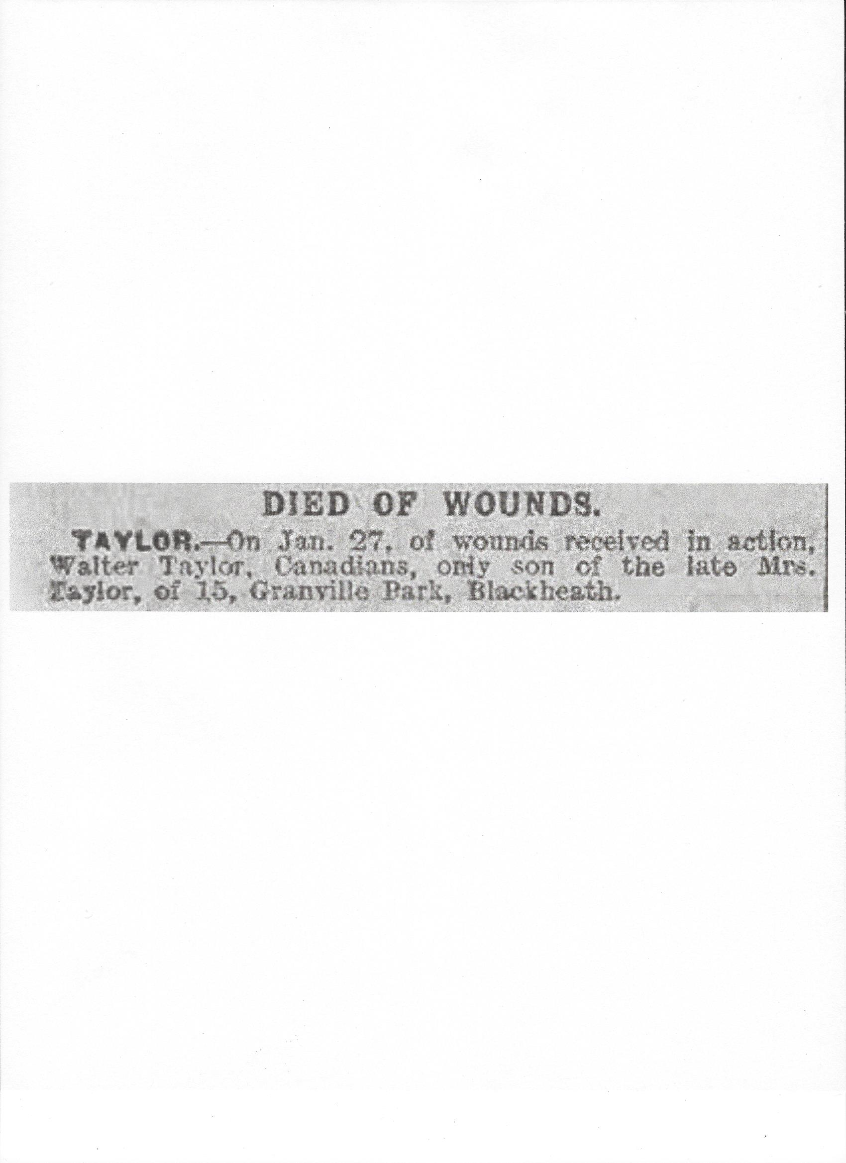 Newspaper clipping– Taken from the Daily Telegraph of February 2, 1918. Image taken from web address of https://www.telegraph.co.uk/news/ww1-archive/12215090/Daily-Telegraph-February-2-1918.html