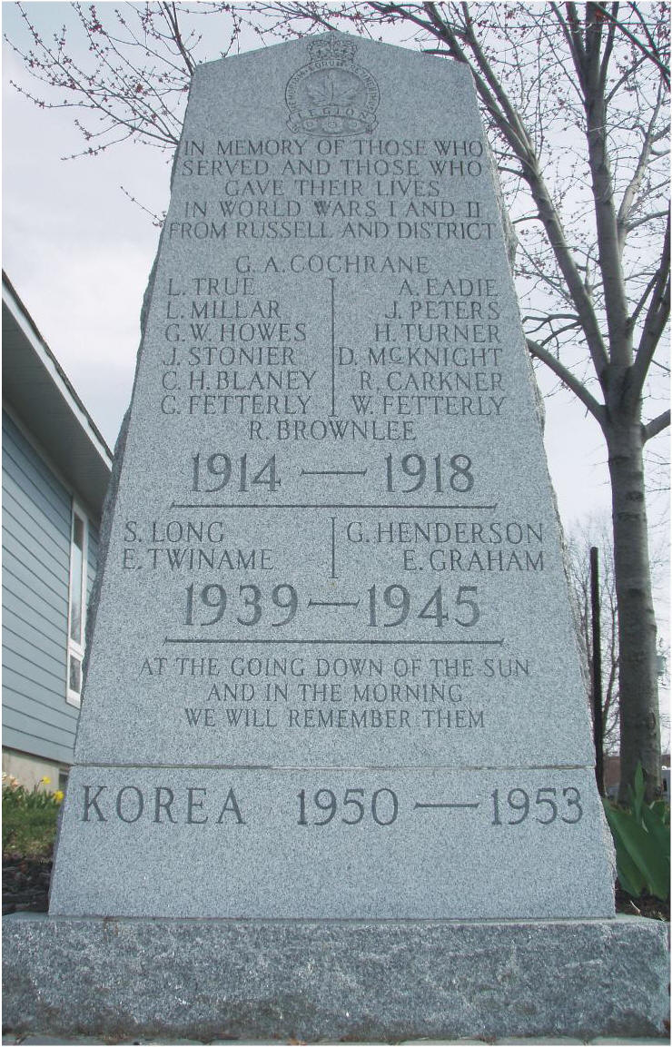 Memorial– Cenotaph, Russell Ontario