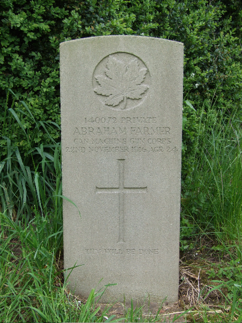 Grave Marker– Pte Farmer's grave marker  in Tutbury (St. Mary) Churchyard Staffordshire