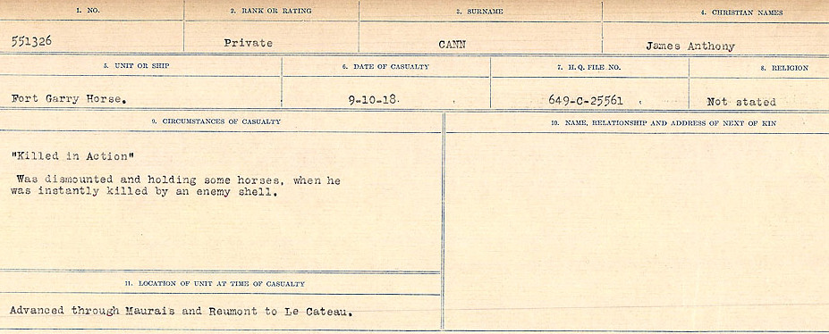 Circumstances of Death Registers– Source: Library and Archives Canada.  CIRCUMSTANCES OF DEATH REGISTERS, FIRST WORLD WAR Surnames:  Canavan to Caswell. Microform Sequence 18; Volume Number 31829_B016727. Reference RG150, 1992-93/314, 162.  Page 31 of 1004.