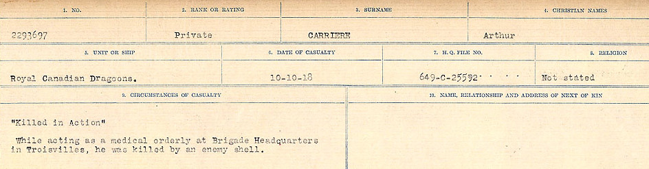 Circumstances of Death Registers– Source: Library and Archives Canada.  CIRCUMSTANCES OF DEATH REGISTERS, FIRST WORLD WAR Surnames:  Canavan to Caswell. Microform Sequence 18; Volume Number 31829_B016727. Reference RG150, 1992-93/314, 162.  Page 481 of 1004.