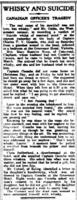 Newspaper Clipping– Tragic death of Lt Charles V V Coombs 27th December 1919