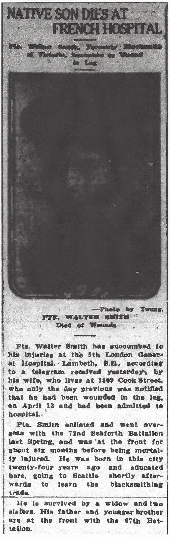 Newspaper clipping– From the Daily Colonist of April 24, 1917. Image taken from web address of http://archive.org/stream/dailycolonist59y116uvic#page/n0/mode/1up