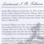 Memorial Page– Stanley Bliss Tallman is honoured on page 23 of the Merrickville Remembers booklet, published in January 2003.