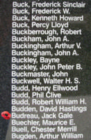 Memorial– Pilot Officer Jack Gale Budreau is also commemorated on the Bomber Command Memorial Wall in Nanton, AB … photo courtesy of Marg Liessens