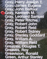 Memorial– Flight Lieutenant Kenneth Macgregor Gray is also commemorated on the Bomber Command Memorial Wall in Nanton, AB … photo courtesy of Marg Liessens