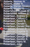 Memorial– Flying Officer Ernest Drever Robertson is also commemorated on the Bomber Command Memorial Wall in Nanton, AB … photo courtesy of Marg Liessens