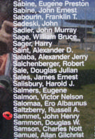 Memorial– Pilot Officer John Henry Sammet is also commemorated on the Bomber Command Memorial Wall in Nanton, AB … photo courtesy of Marg Liessens