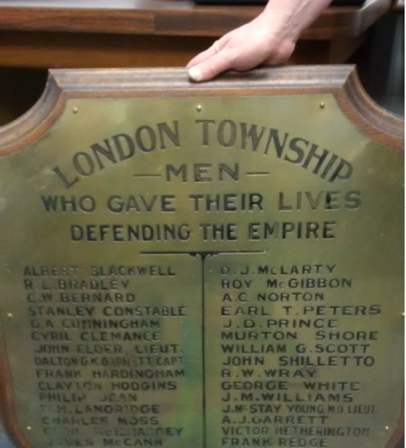Memorial Plaque– Delaware Plaque - from the Middlesex County Archives recognizing those from that area of the county who died in the Great War
