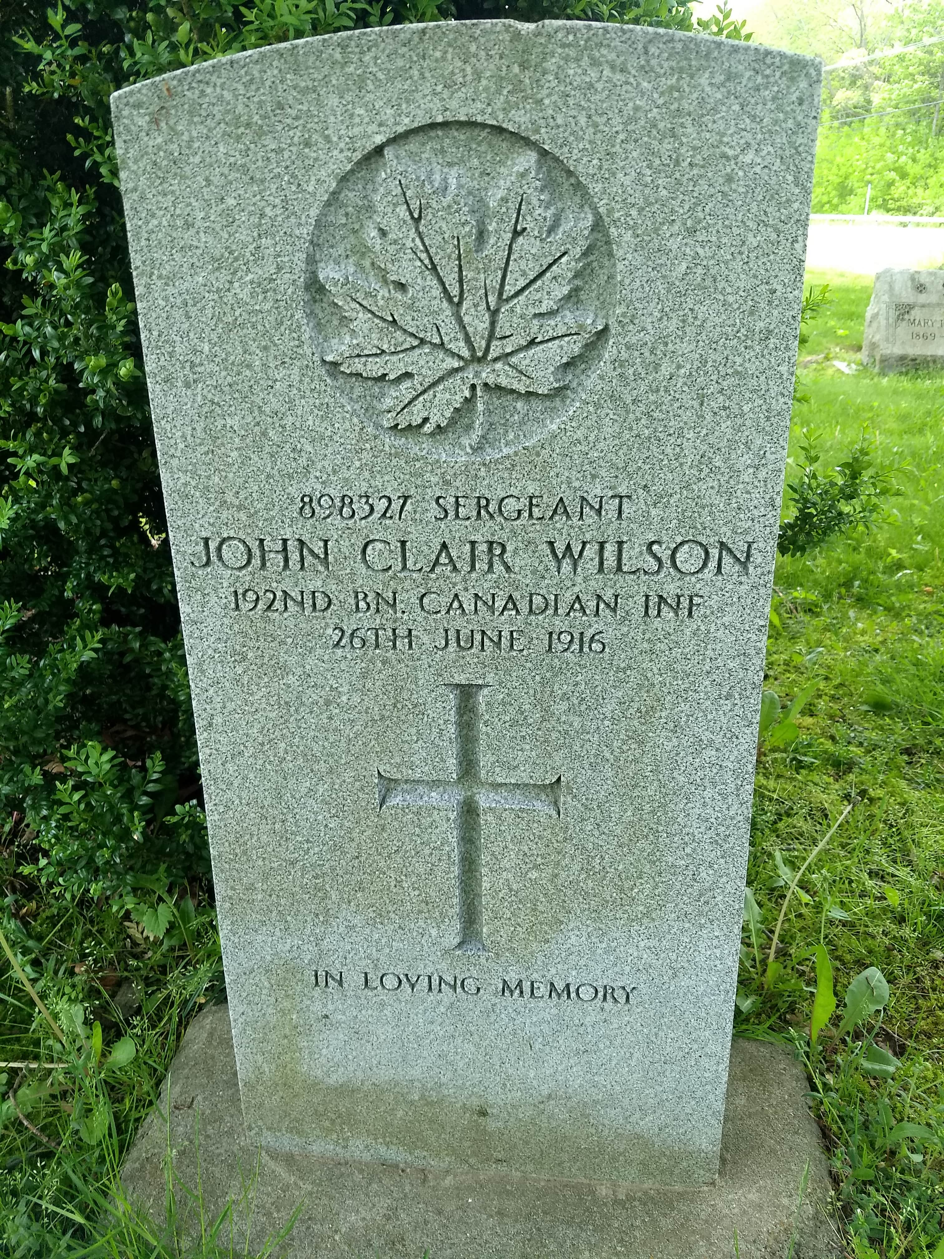Grave marker– Final resting place of John Clair Wilson.