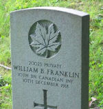Grave Marker– Grave of William Baxter Franklin.