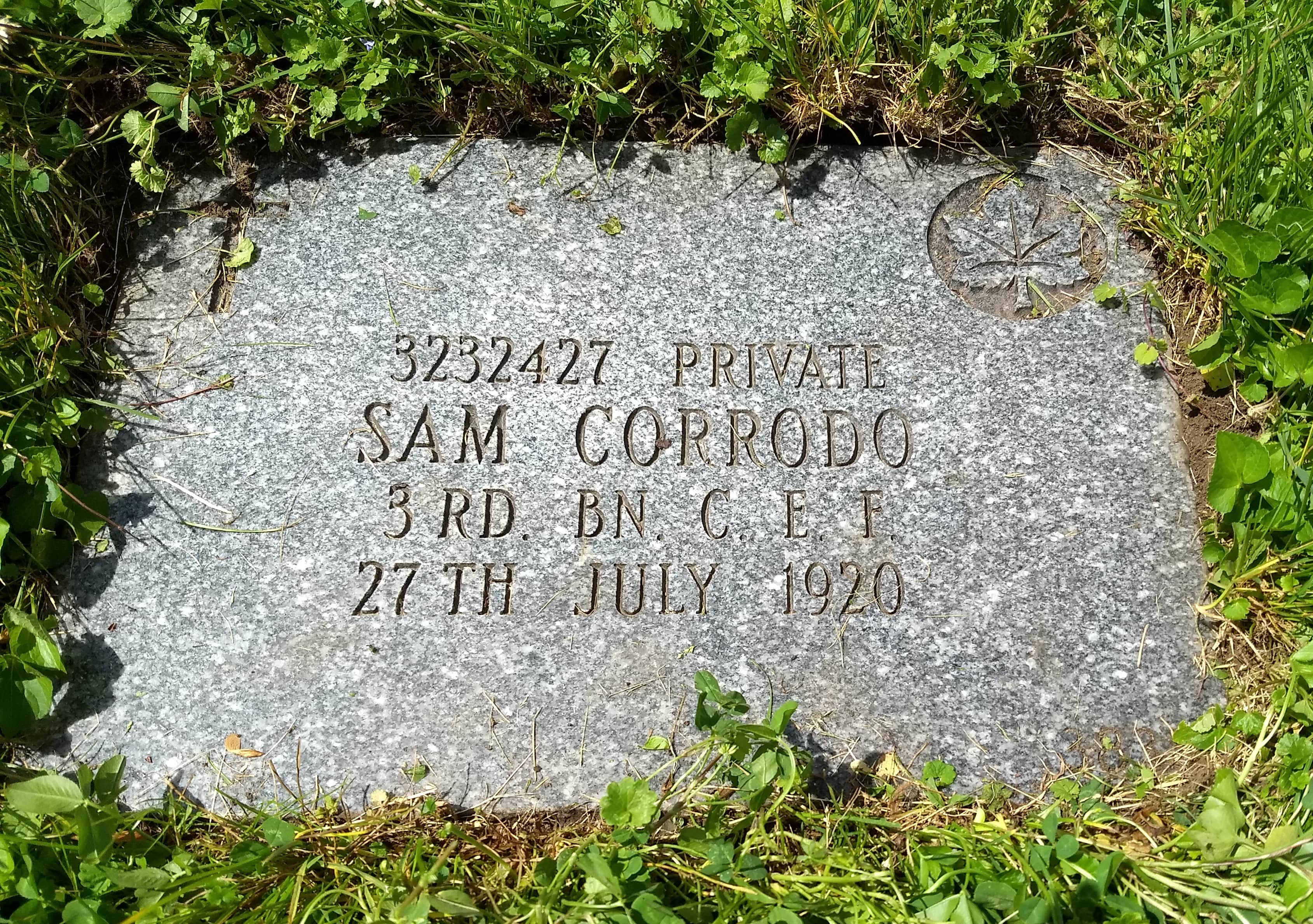 Grave marker– The final resting place of Sam Corrodo.