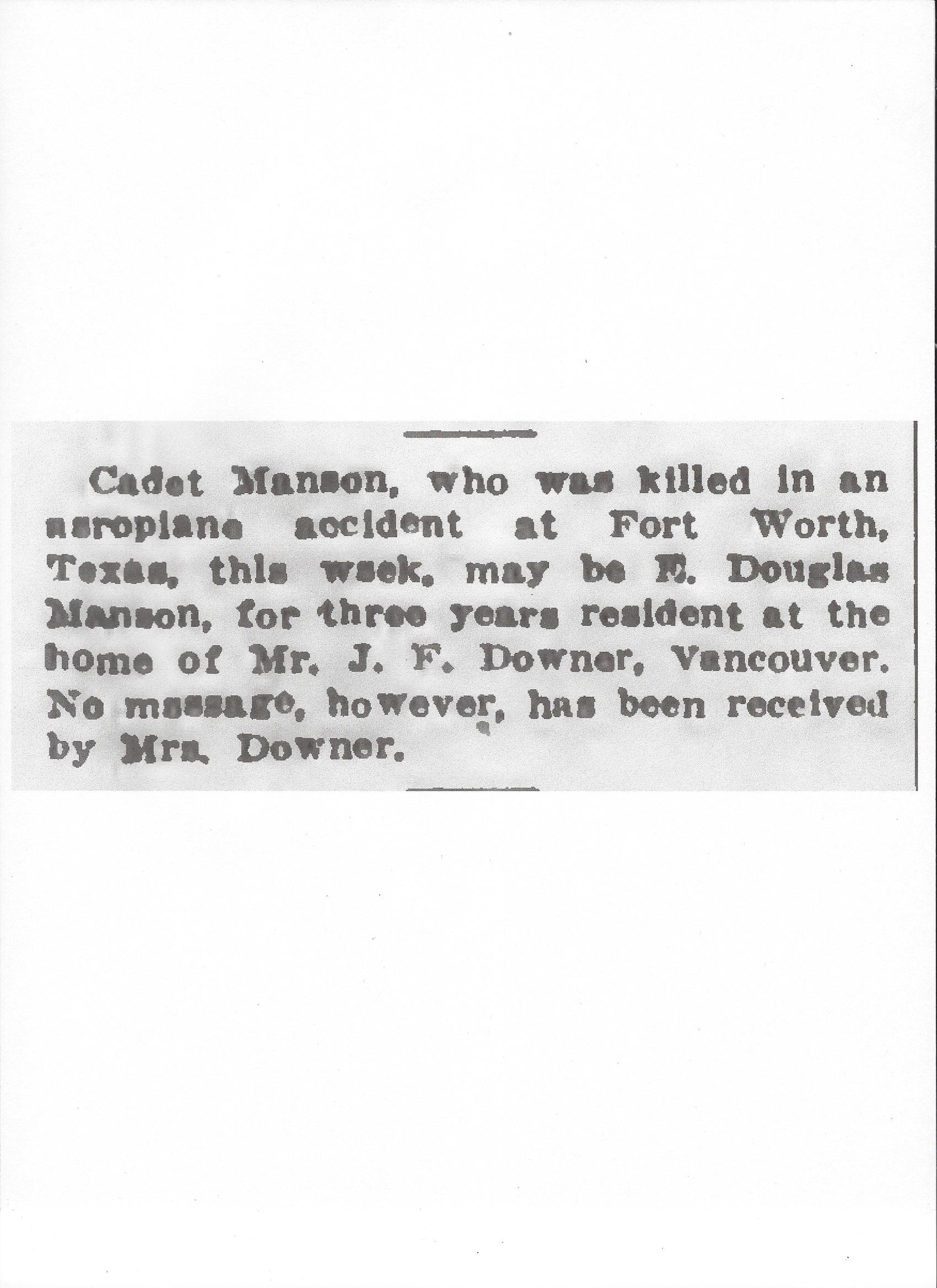 Newspaper clipping– From the Daily Colonist of December 29, 1917. Image taken from web address of http://archive.org/stream/dailycolonist59by330uvic#page/n0/mode/1up