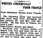 Newspaper Clipping 3– A letter about the death of Roy Wilson, published in the Perth Courier for 1 June 1917.