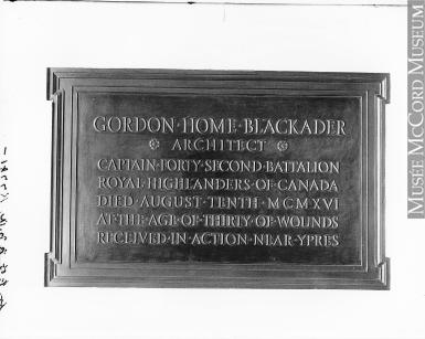 Plaque– Gordon Home Blackader 1918