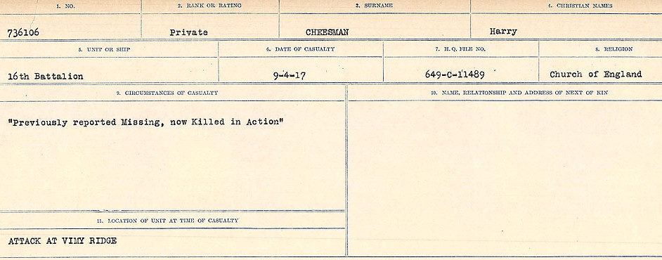 Circumstances of Death Registers– Source: Library and Archives Canada.  CIRCUMSTANCES OF DEATH REGISTERS, FIRST WORLD WAR Surnames:  Catchpole to Chignell. Microform Sequence 19; Volume Number 31829_B016728. Reference RG150, 1992-93/314, 165. Page 837 of 958.
