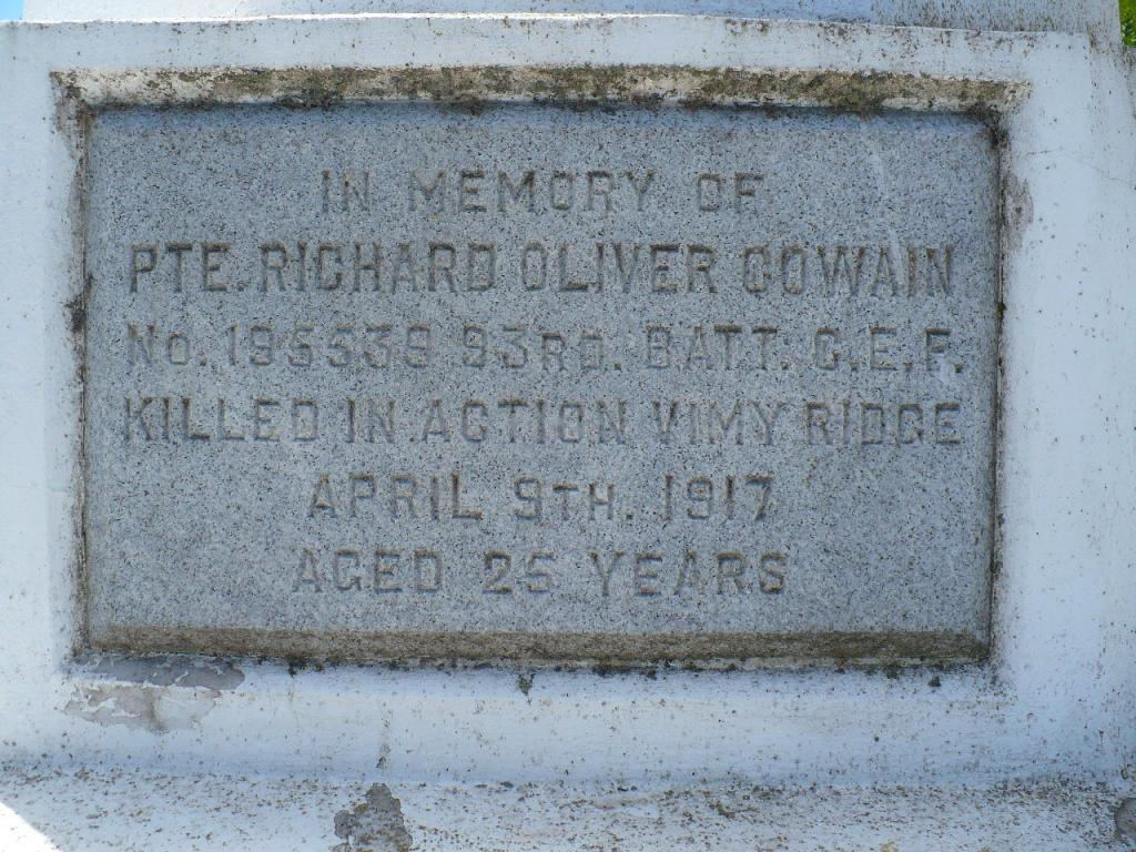 Memorial– Dedicated to Richard Oliver, killed in action at Vimy Ridge Cowan; plaque at Trent River