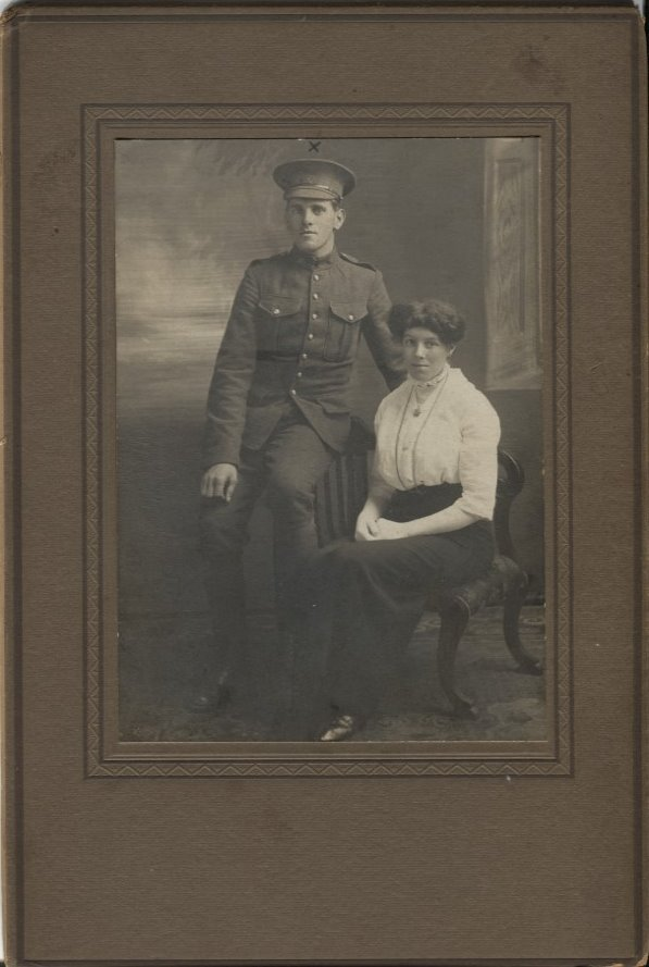 Group Photo– Private Benjamin Woolley and his wife Lilly in an undated photograph.  Contributed by E.Edwards www.18thbattalioncef.wordpress.com via the 18th Battalion Facebook Group and a member of that group.