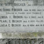 """Grave Marker– Closer view of the memorial & family grave stone in the Mountain View cemetery in Vancouver BC for 760383 Pvt. George Percy Becker who served with the 7th Battn. C.E.F. Born on Bowen Island BC on June 19th 1896. George enlisted into the 121st Battn. (Replacement) at Vancouver BC on Dec. 6th 1915 listing his occupation as """"Teamster""""  He was Killed in Action near Cambrai France on Sept. 29th 1918 at the age of 22.  He was laid to rest in the Bucquoy Road Cem. near Arras France."""