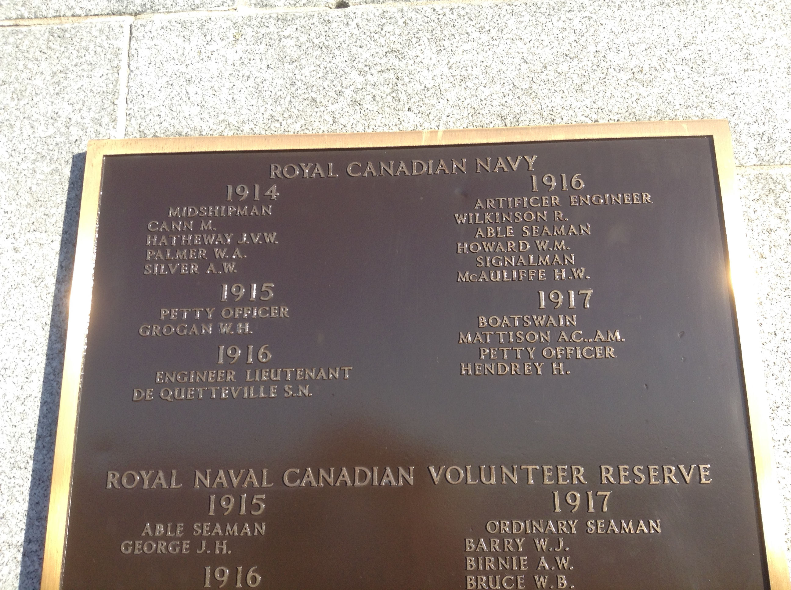 Inscription– The panel with Hugh Hendry's name inscribed (spelt incorrectly as Hendrey), on the Halifax Memorial in Halifax, Nova Scotia.