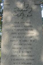 Inscription– Leo Rooney's name on back of Cenotaph