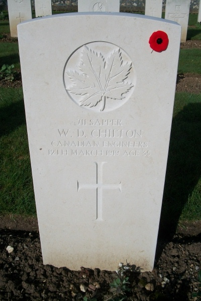 Photo of WILLIAM DOUGLAS CHILTON– Grave marker - Ste Marie Cemetery - April 2017 ... photo courtesy of Marg Liessens