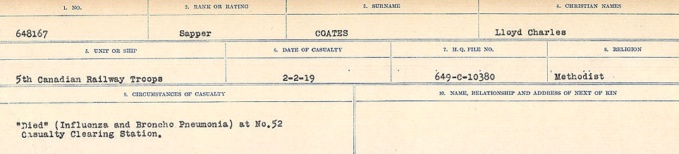 Circumstances of Death Registers– Source: Library and Archives Canada.  CIRCUMSTANCES OF DEATH REGISTERS, FIRST WORLD WAR Surnames:  CLEAL TO CONNOLLY.  Microform Sequence 21; Volume Number 31829_B016730. Reference RG150, 1992-93/314, 165.  Page 351 of 1384.