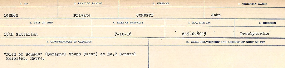 Circumstances of Death Registers– Source: Library and Archives Canada.  CIRCUMSTANCES OF DEATH REGISTERS, FIRST WORLD WAR Surnames:  CONNON TO CORBETT.  Microform Sequence 22; Volume Number 31829_B016731. Reference RG150, 1992-93/314, 166.  Page 791 of 818.