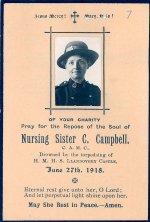 Carte mémorial – Carte mémorial de l'infirmière C. Campbell.