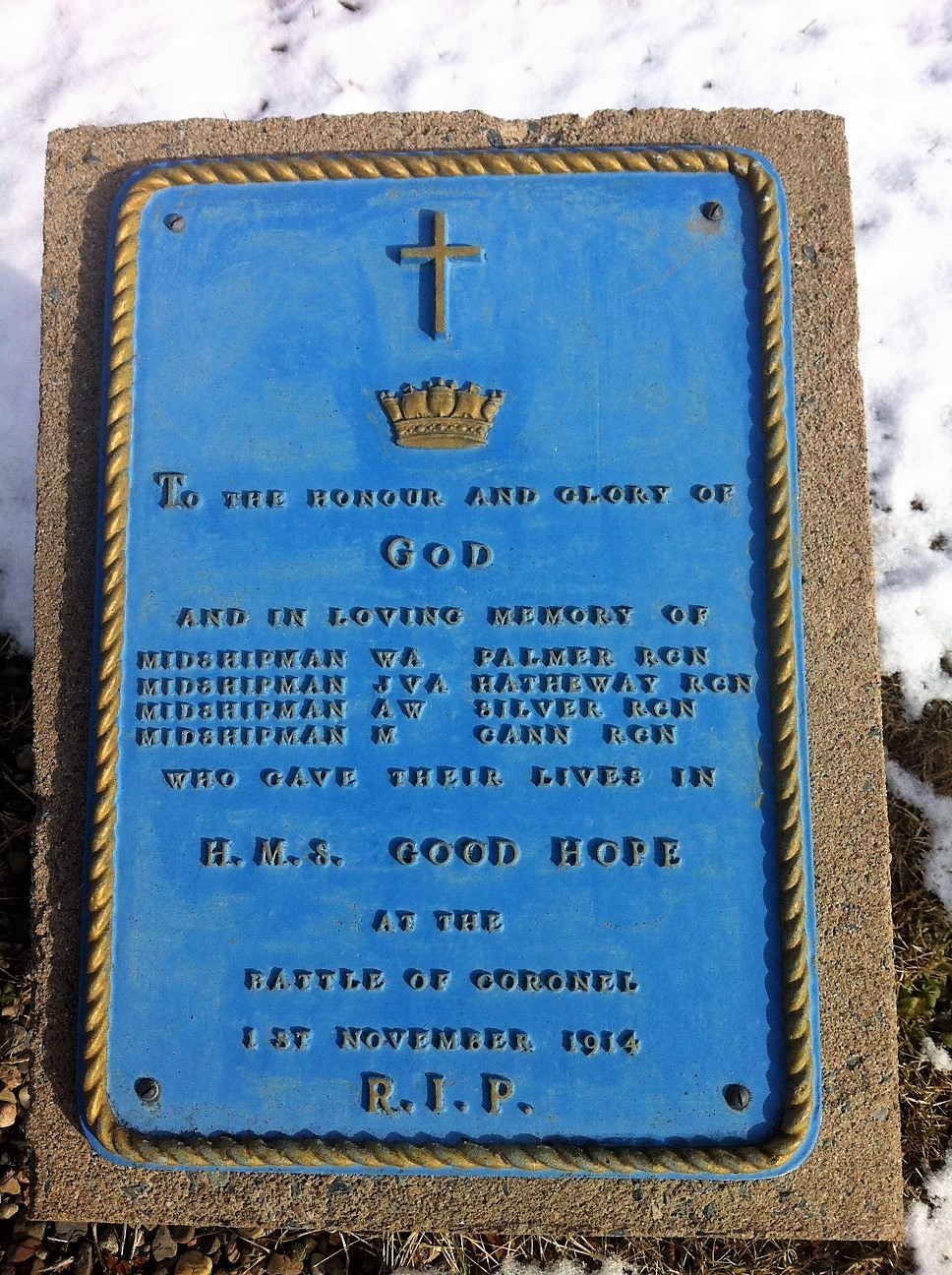 Memorial– The memorial plaque at Canadian Forces Base Halifax to Malcolm Cann and his three fellow RCN Midshipmen who died in HMS Good Hope at the Battle of Coronel on 1 November 1914 during World War I.  The location of the main Canadian naval base, Halifax was where Malcolm Cann had undergone his initial training before joining HMS Good Hope.