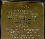 Memorial Plaque– Royal Naval College of Canada plaque: To the glory of God and in fond memory of the following ex-cadet Royal Naval College of Canada Midshipmen killed in action on board H.M.S. Good Hope off Coronel Nov 1st 1914.