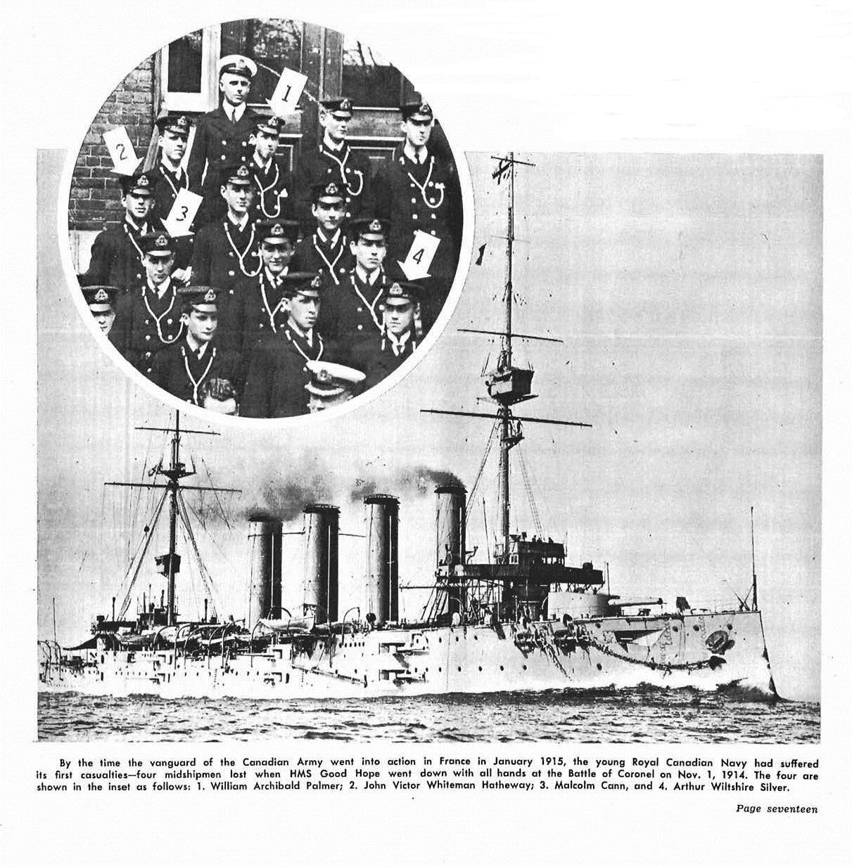 Newspaper Clipping– This display of images appeared at page 17 in the November 1964 issue of The Crowsnest, the Royal Canadian Navy's magazine.  (Submitted by Navy League Cadet Corps CHAMBLY, Barrie, Ontario.)