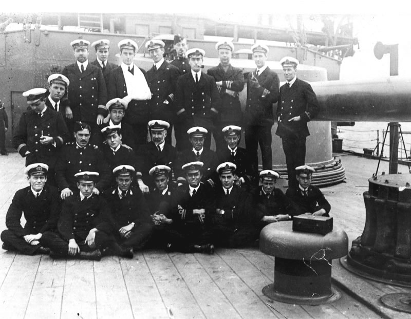Group Photo– This photograph, taken in the Falkland Islands on 18 October 1914, shows some of the officers and midshipmen aboard HMS GOOD HOPE.  Midshipman M. Cann is in the front row, fourth from the left.  (Submitted by Navy League Cadet Corps CHAMBLY, Barrie, Ontario.)